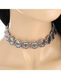 Vintage Silver Color Flower Pattern Decorated Oval Shape Matching Collar Necklace