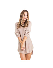 Casual Apricot Pure Color Decorated Long Sleeve Loose Irregular Skirt