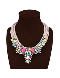 Exaggerated Multi-color Geometric Shape Gemstone Decorated Hand-woven Necklace