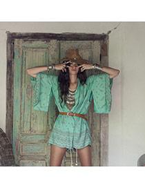 Fashion green Ox-head Pattern Decorated Batwing Sleeve Simple Bikini Cover Up Smock