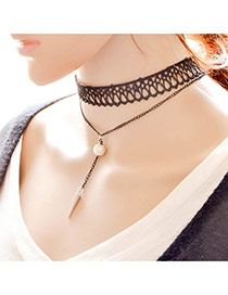 Elegant Black Rivet Tassel Pendant Decorated Double Layer Necklace