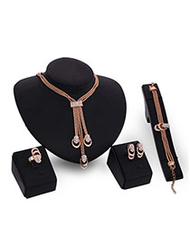 Luxury Gold Color Tassel Pendant Decorated Simple Jewelry Sets
