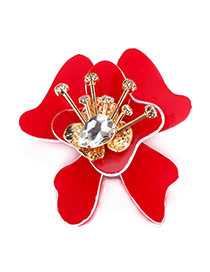 Luxury Red Waterdrop Diamond Decorated Big Flower Shape Brooch