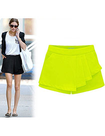 Fashion Yellow Pure Color Design Simple Design Bilayer Shorts