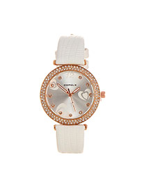 Lovely White Heart Shape Decorated Simple Strap Watch