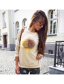 Cute Beige Fuzzy Ball&ice Cream Shape Decorated Long Sleeve Coat